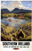Southern Ireland, Travel by Rail asnd Sea, British Railways, Irish Railway Travel Poster Print